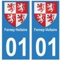 01 Ferney-Voltaire ville autocollant plaque