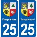 25 Damprichard blason autocollant plaque stickers