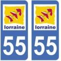 55 Meuse autocollant plaque
