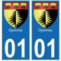 01 Oyonnax ville autocollant plaque