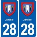 28 Janville blason autocollant plaque stickers ville