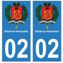 02 Bohain-en-Vermandois ville autocollant plaque