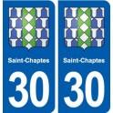30 Saint-Chaptes coat of arms, city sticker, plate sticker