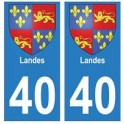 40 Landes autocollant plaque