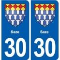 30 Saze blason ville autocollant plaque stickers