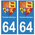 64 Pyrenees Atlantiques sticker plate coat of arms coat of arms stickers department