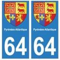64 Pyrénées Atlantiques autocollant plaque blason armoiries stickers département