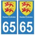 65 Hautes-Pyrénées autocollant plaque blason armoiries stickers département