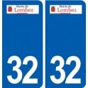 32 Lombez logo ville autocollant plaque stickers