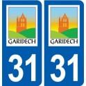 31 Garidech logo ville autocollant plaque stickers