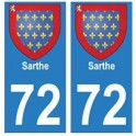 72 Sarthe autocollant plaque blason armoiries stickers département