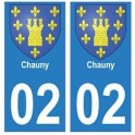 02 Chauny ville autocollant plaque