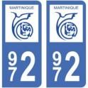 972 Martinique autocollant plaque