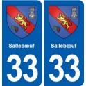 33 Sallebœuf blason ville autocollant plaque stickers