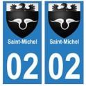 02 Saint-Michel ville autocollant plaque