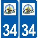 34 Cers logo ville autocollant plaque stickers