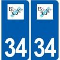 34 Le Bousquet-d'orb logo city sticker, plate sticker