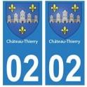 02 Château-Thierry ville autocollant plaque