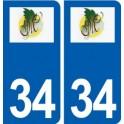 34 Maureilhan logo city sticker, plate sticker