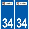 34 Olonzac logo ville autocollant plaque stickers