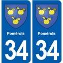 34 Pomérols blason ville autocollant plaque stickers