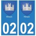 02 Hirson ville autocollant plaque