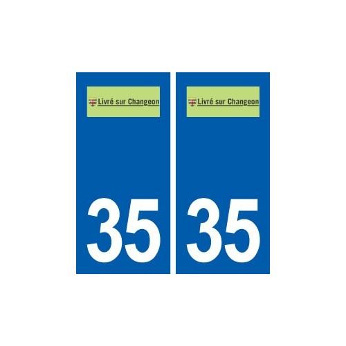 35 Livré-sur-Changeon logo autocollant plaque stickers ville
