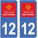 12 Aveyron autocollant plaque