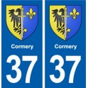 37 Cormery coat of arms, city sticker, plate sticker
