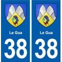 38 Le Gua blason ville autocollant plaque stickers