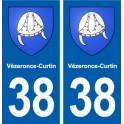 38 Vézeronce-Curtin coat of arms, city sticker, plate sticker