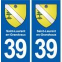 39 Saint-Laurent-en-Grandvaux autocollant plaque blason stickers département