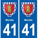 41 Montils coat of arms, city sticker, plate sticker department city