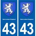 43 Saint-Julien-Chapteuil blason autocollant plaque immatriculation ville