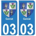 03 Gannat ville autocollant plaque