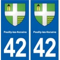 42 Pouilly-les-Nonains coat of arms, city sticker, plate sticker department