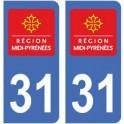 31 Haute Garonne autocollant plaque