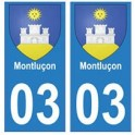 03 Montluçon ville autocollant plaque