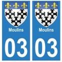 03 Moulins ville autocollant plaque