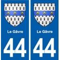 44 Le Gâvre blason ville autocollant plaque stickers