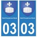 03 Saint-Pourçain-sur-Sioule ville autocollant plaque