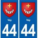 44 Vay coat of arms, city sticker, plate sticker