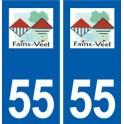 55 Fains-Véel logo autocollant plaque stickers ville