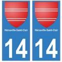 14 Hérouville-Saint-Clair ville autocollant plaque