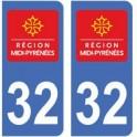 32 Gers autocollant plaque