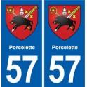57 Porcelette blason autocollant plaque stickers ville