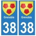 38 Grenoble blason autocollant plaque ville