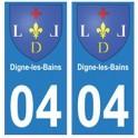 04 Digne-les-Bains ville autocollant plaque