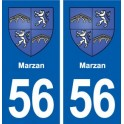 56 Marzan blason autocollant plaque stickers ville