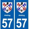 57 Alsting blason autocollant plaque stickers ville